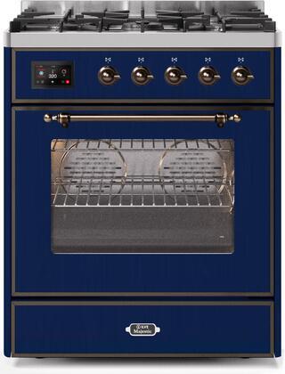 Ilve Majestic II UM30DNE3MBB Freestanding Dual Fuel Range Blue, UM30DNE3MBBNG-Front-CD-A