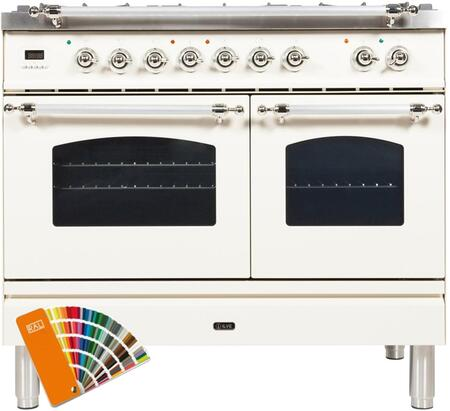 """UPDN100FDMPRALX 40"""" Nostalgie Series Dual Fuel Range with 5 Sealed Brass Burners, 3.55 cu. ft. Total Capacity True Convection Oven, Griddle, in Custom RAL Color"""