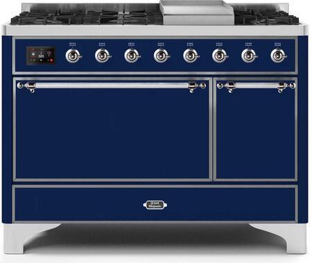 Ilve Majestic II UM12FDQNS3MBCLP Freestanding Dual Fuel Range Blue, UM12FDQNS3MBCLP-Front-CD-A