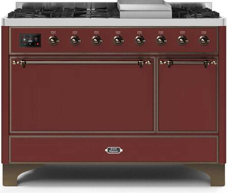 Ilve Majestic II UM12FDQNS3BUBLP Freestanding Dual Fuel Range Red, UM12FDQNS3BUBLP-Front-CD-A