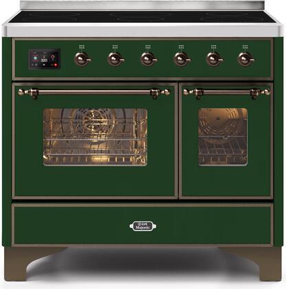 Ilve Majestic II UMDI10NS3EGB Freestanding Electric Range Green, UMDI10NS3EGB-Front-CD-A