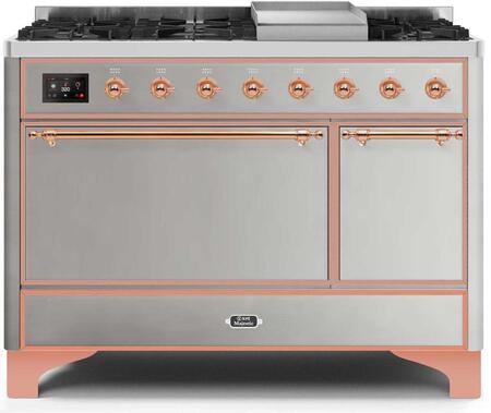 Ilve Majestic II UM12FDQNS3SSP Freestanding Dual Fuel Range Stainless Steel, UM12FDQNS3SSPNG-Front-CD-A