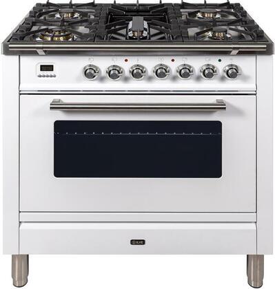 Ilve Professional Plus UPW90FDVGGBLP Freestanding Gas Range White, UPW90FDVGGB Gas Range