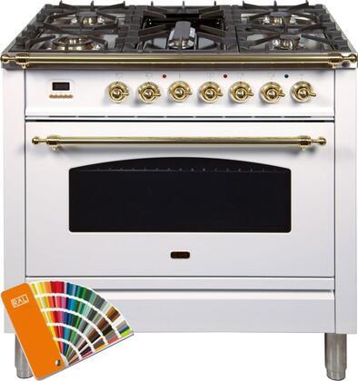 Ilve Nostalgie UPN90FDMPRAL Freestanding Dual Fuel Range Custom Color, Custom RAL Color Option, Customer Must Supply RAL Code