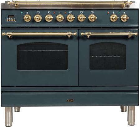 Ilve Nostalgie UPDN100FDMPBG Freestanding Dual Fuel Range , Blue Grey Custom RAL Color