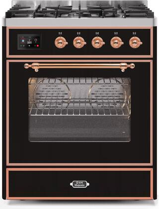 """UM30DNE3BKP 30"""" Majestic II Series Dual Fuel Natural Gas Range with 5 Burners, 2.3 cu. ft. Oven Capacity, TFT Oven Control Display, Copper Trim, in Glossy Black"""