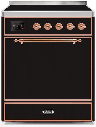 Ilve Majestic II UMI30QNE3BKP Freestanding Electric Range Black, UMI30QNE3BKP-Front-CD-A
