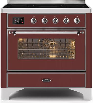 Ilve Majestic II UMI09NS3BUC Freestanding Electric Range Red, UMI09NS3BUC-Front-CD-A
