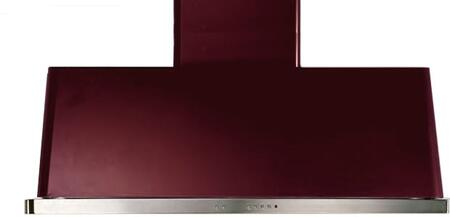 """UAM120RB 48"""" Wall Mount Range Hood with 600 CFM Blower, Anti-grease Filter, 2 Warming Lights, Filter Light Indicator, Auto-off Function, and 4 Fan Speeds: Burgundy"""