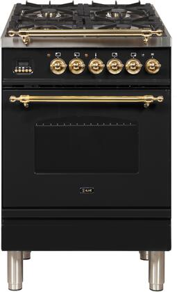 Nostalgie Series 24 Inch Dual Fuel Natural Gas Freestanding Range in Glossy Black with Brass Trim