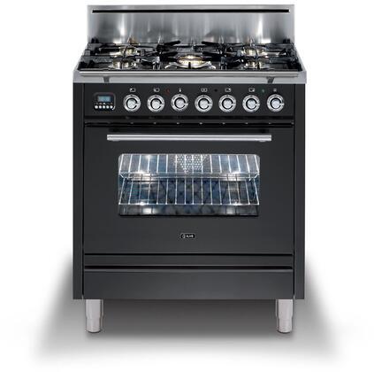 "UPW76DVGGM 30"" Professional Plus Freestanding Natural Gas Range with 5 Burners, Chrome Trim, in Matte Graphite"