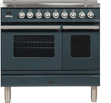 Ilve Professional Plus UPDW90FDMPGU Freestanding Dual Fuel Range Blue Grey, UPDW90FDMPGU Nostalgie Blue Grey