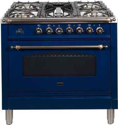 Ilve Nostalgie UPN90FDMPBLY Freestanding Dual Fuel Range Blue, UPN90FDMPBLY Dual Fuel Range