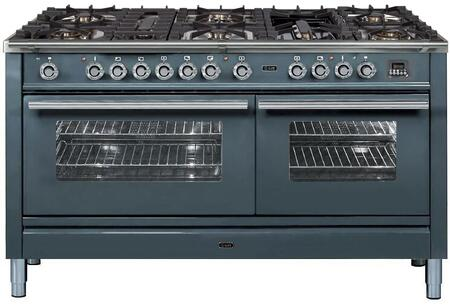 Ilve Professional Plus UPW150FDMPGULP Freestanding Dual Fuel Range Stainless Steel, UPW150FDMPGU Professional Plus Dual Fuel Range