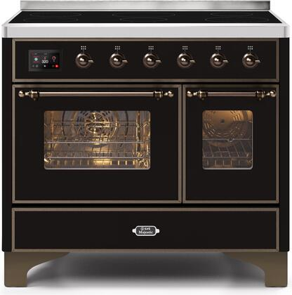 """UMDI10NS3BKB 40"""" Majestic II Series Induction Range with 6 Elements, 3.82 cu. ft. Total Oven Capacity, TFT Oven Control Display, Bronze Trim, in Glossy Black"""
