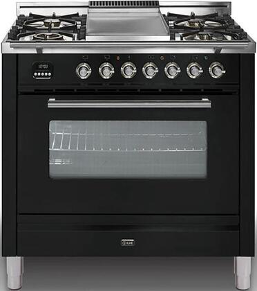 Ilve Professional Plus UPW90FDVGGN Freestanding Gas Range Black, UPW90FDVGGN Gas Range