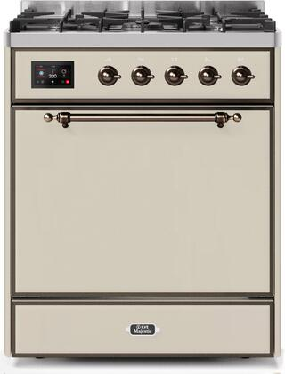 Ilve Majestic II UM30DQNE3AWB Freestanding Dual Fuel Range Bisque, UM30DQNE3AWBNG-Front-CD-A