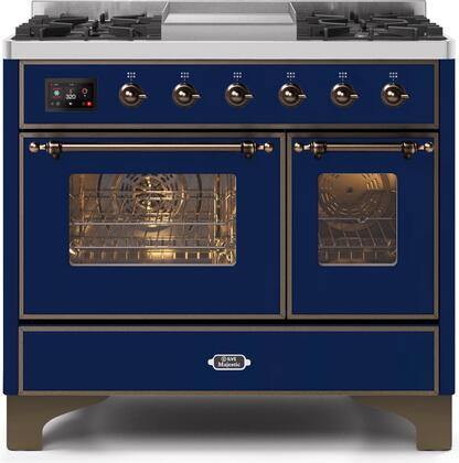Ilve Majestic II UMD10FDNS3MBB Freestanding Dual Fuel Range Blue, UMD10FDNS3MBBNG-Front-CD-A