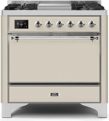 """UM09FDQNS3AWC Natural Gas 36"""" Majestic II Series Dual Fuel Range with 6 Burners and Griddle, 4.1 cu. ft. Oven Capacity, TFT Oven Control Display, Chrome"""
