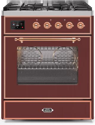 Ilve Majestic II UM30DNE3BUP Freestanding Dual Fuel Range Red, UM30DNE3BUPNG-Front-CD-A