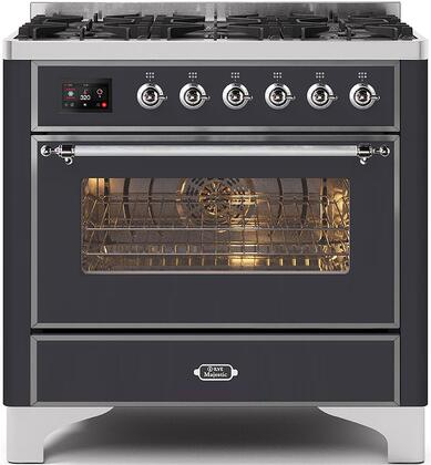 Majestic II Series 36 Inch Dual Fuel Natural Gas Freestanding Range in Matte Graphite with Chrome Trim