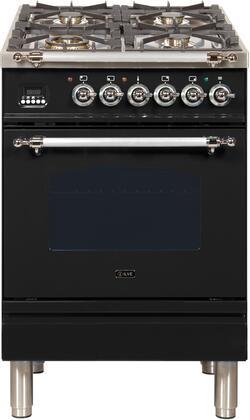 Ilve Nostalgie UPN60DMPNX Freestanding Dual Fuel Range Black, ilve UPN60DMPNX range top