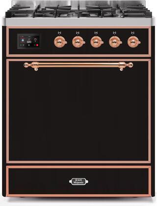 Ilve Majestic II UM30DQNE3BKPLP Freestanding Dual Fuel Range Black, UM30DQNE3BKPLP-Front-CD-A