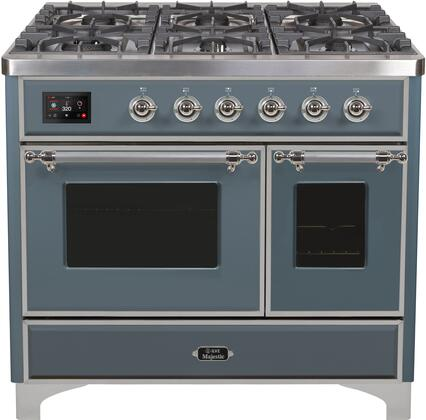 "UMD10FDNS3/BGCLP 40"" Majestic II Series Dual Fuel Range with 6 Sealed Burners and Griddle, 3.82 cu. ft. Total Oven Capacity, TFT Oven Control Display, Triple Glass Cool Door Oven, Blue Grey"