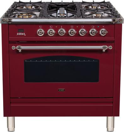 Ilve Nostalgie UPN90FDMPRBX Freestanding Dual Fuel Range Red, UPN90FDMPRBXLP