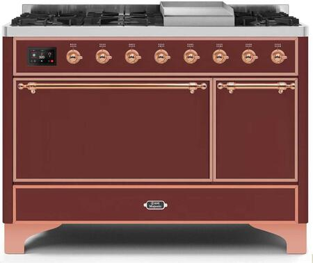 Ilve Majestic II UM12FDQNS3BUP Freestanding Dual Fuel Range Red, UM12FDQNS3BUPNG-Front-CD-A