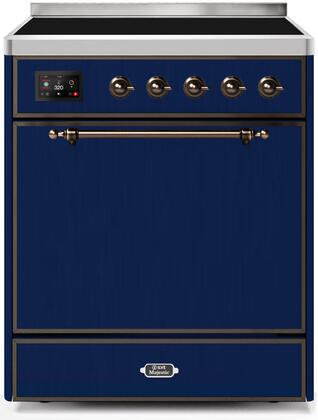 Ilve Majestic II UMI30QNE3MBB Freestanding Electric Range Blue, UMI30QNE3MBB-Front-CD-A