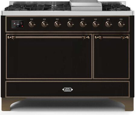 Ilve Majestic II UM12FDQNS3BKBLP Freestanding Dual Fuel Range Black, UM12FDQNS3BKBLP-Front-CD-A