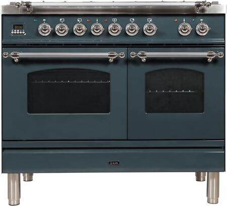 Ilve Nostalgie UPDN100FDMPBGXLP Freestanding Dual Fuel Range , Blue Grey Custom RAL Color