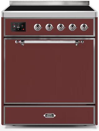 Ilve Majestic II UMI30QNE3BUC Freestanding Electric Range Red, UMI30QNE3BUC-Front-CD-A