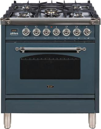 """UPN76DMPBGX 30"""" Nostalgie Series Dual Fuel Range with 5 Sealed Burners, 3 cu. ft. Capacity True Convection Oven, with Chrome Trim, in Blue Grey"""