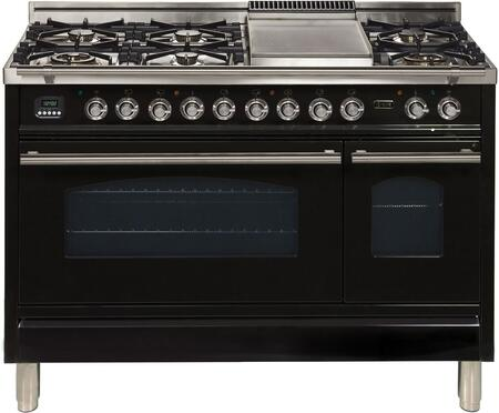 """UPW120FDMPNLP 48"""" Professional Plus Freestanding Dual Fuel Range with 7 Sealed Burners, Double Ovens, Griddle, and Rotisserie, in Glossy Black"""