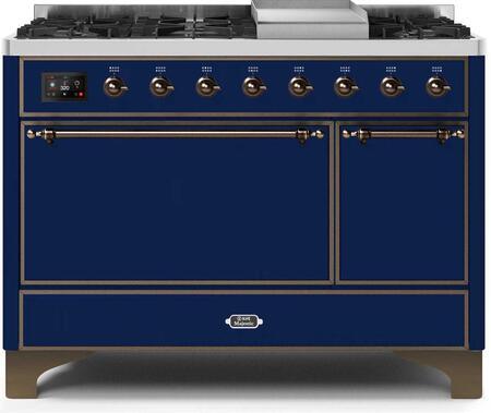 Ilve Majestic II UM12FDQNS3MBBLP Freestanding Dual Fuel Range Blue, UM12FDQNS3MBBLP-Front-CD-A