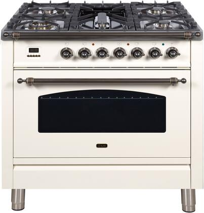 """UPN90FDMPAY 36"""" Nostalgie Series Dual Fuel Natural Gas Range with 5 Sealed Brass Burners, 3 cu. ft. Capacity True Convection Oven, with Bronze Trim, in Antique White"""