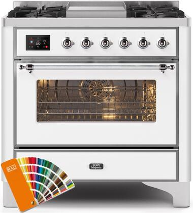"""UM09FDNS3RALCLP 36"""" Majestic II Series Dual Fuel Liquid Propane Rangewith 6 Burners and Griddle, 3.5 cu. ft. Oven Capacity, TFT Oven Control Display, Chrome Trim, in Custom RAL Color"""