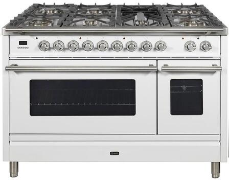 """UPW120FDMPBLP 48"""" Professional Plus Dual Fuel Range with 7 Sealed Burners, Double Ovens, Griddle, and Rotisserie, in White"""