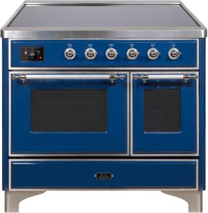 Ilve Majestic II UMDI10NS3MBC Freestanding Electric Range Blue, UMDI10NS3MBC-Front-CD-A