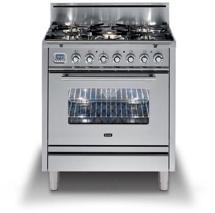 """UPW76DVGGI 30"""" Professional Plus Freestanding Natural Gas Range with 5 Burners, Chrome Trim, in Stainless Steel"""