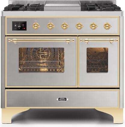 Ilve Majestic II UMD10FDNS3SSG Freestanding Dual Fuel Range Stainless Steel, UMD10FDNS3SSGNG-Front-CD-A