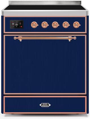 Ilve Majestic II UMI30QNE3MBP Freestanding Electric Range Blue, UMI30QNE3MBP-Front-CD-A