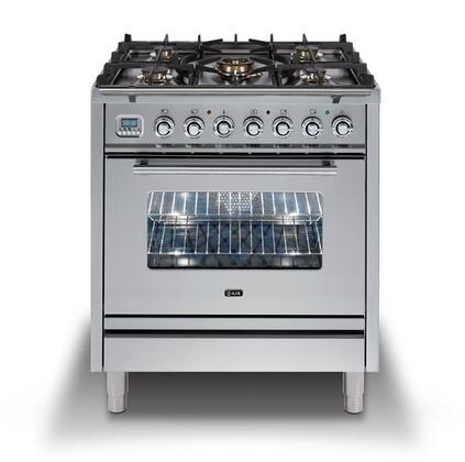 Ilve Professional Plus UPW76DMPILP Freestanding Dual Fuel Range Stainless Steel, UPW76DMPI Professional Plus Freestanding Dual Fuel Range