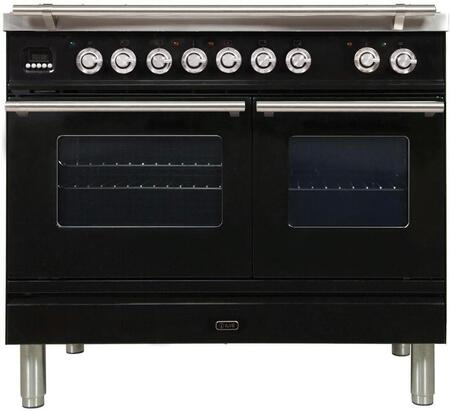 "UPDW100FDMPN 40"" Professional Plus Series Freestanding Dual Fuel Range with Griddle, 2 Ovens, 4 Sealed Burners, Warming Drawer, and 4 cu. ft. Total Oven Capacity, in Glossy Black"