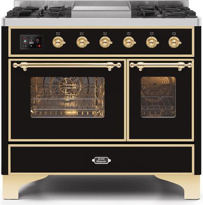 """UMD10FDNS3BKGLP 40"""" Majestic II Series Dual Fuel Liquid Propane Rangewith 6 Sealed Burners and Griddle, 3.82 cu. ft. Total Oven Capacity, TFT Oven Control Display, Brass Trim, in Glossy Black"""