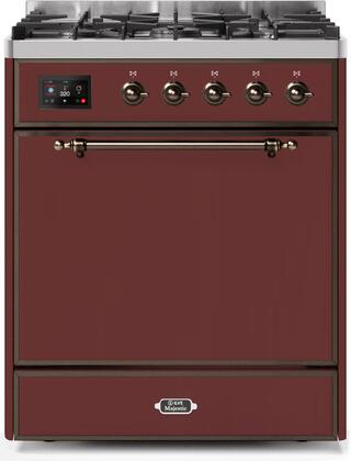 Ilve Majestic II UM30DQNE3BUB Freestanding Dual Fuel Range Red, UM30DQNE3BUBNG-Front-CD-A