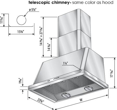 Ilve Majestic UAM120B Wall Mount Range Hood White, Dimensions Diagram