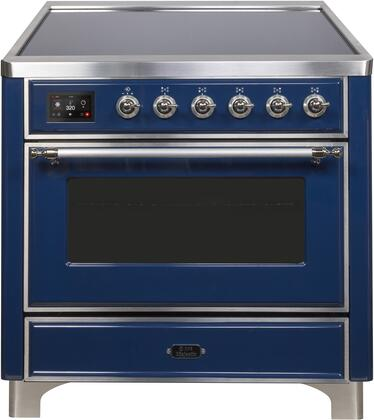 Ilve Majestic II UMI09NS3MBC Freestanding Electric Range Blue, UMI09NS3MBC-Front-CD-A